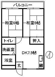 メゾン榛原 4階2DKの間取り