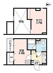 南海線 住ノ江駅 徒歩11分の賃貸アパート 2階1Kの間取り