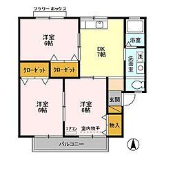 千葉県千葉市緑区おゆみ野6丁目の賃貸アパートの間取り