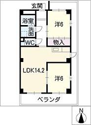 都築ハイツ[3階]の間取り