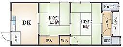 大阪府吹田市藤が丘町の賃貸マンションの間取り