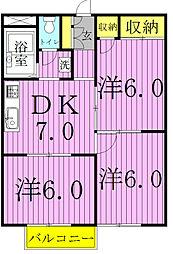 シティハイツ荒井I[104号室]の間取り