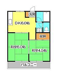 埼玉県所沢市北所沢町の賃貸アパートの間取り