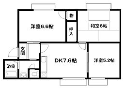 ハイツUNO A棟[102号室]の間取り
