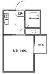 東京都大田区中央2丁目の賃貸アパートの間取り