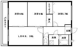 大阪府岸和田市岡山町の賃貸アパートの間取り