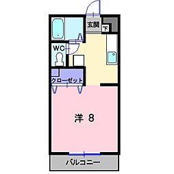 岡山県総社市門田の賃貸マンションの間取り