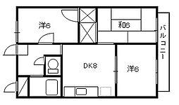 埼玉県さいたま市桜区中島2丁目の賃貸アパートの間取り