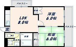 大阪府東大阪市川俣3丁目の賃貸マンションの間取り