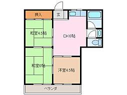 三重県四日市市久保田1丁目の賃貸マンションの間取り