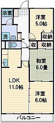 プリムローズ上福岡[306号室]の間取り