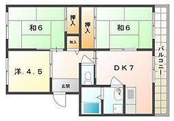 Kクレール[2階]の間取り