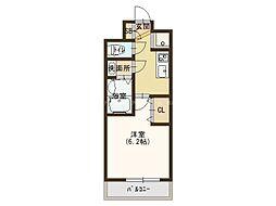 JR大阪環状線 玉造駅 徒歩4分の賃貸マンション 2階1Kの間取り
