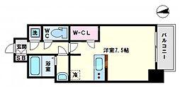 レジュールアッシュOSAKA今里駅前 9階ワンルームの間取り