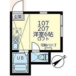 ユナイト岡沢マックスタイラー 1階ワンルームの間取り