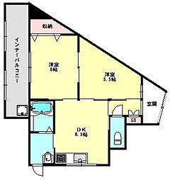 兵庫県神戸市須磨区戎町5丁目の賃貸マンションの間取り