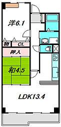 京阪本線 古川橋駅 徒歩15分の賃貸マンション 3階2LDKの間取り