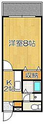 アキラマンション 3階1Kの間取り