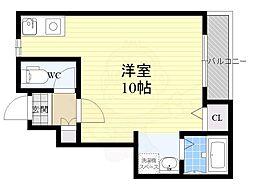 ランフォート天神川テラス 1階ワンルームの間取り