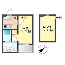 パビユウネッツ ビワジマ(pavillon honnete biwajima)[2階]の間取り