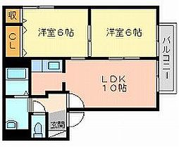 岡山県岡山市中区円山の賃貸アパートの間取り