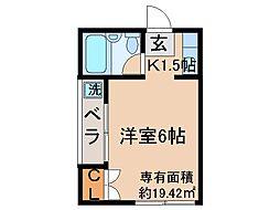 京都府宇治市開町の賃貸アパートの間取り