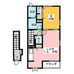 静岡県藤枝市水守2丁目の賃貸アパートの間取り