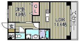 大阪府泉大津市曽根町2丁目の賃貸マンションの間取り