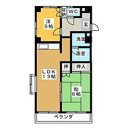 スカイハイツ[4階]の間取り
