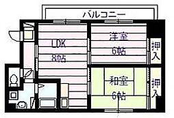 ロイヤルパレス法善寺[2階]の間取り