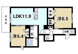 近鉄京都線 高の原駅 徒歩13分の賃貸アパート 1階2LDKの間取り