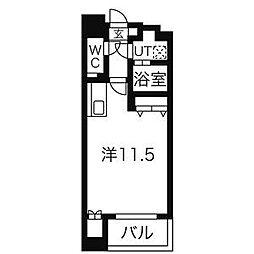 名鉄名古屋本線 名鉄名古屋駅 徒歩10分の賃貸マンション 5階ワンルームの間取り