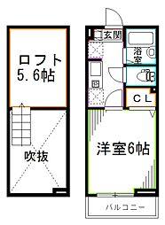 西武新宿線 下井草駅 徒歩8分の賃貸アパート 2階1Kの間取り