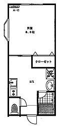 六条鹿島コーポ[2−D号室号室]の間取り