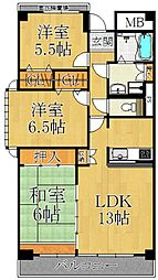 兵庫県西宮市甲子園口3丁目の賃貸マンションの間取り
