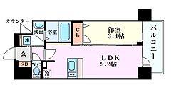 Osaka Metro中央線 阿波座駅 徒歩5分の賃貸マンション 14階1LDKの間取り