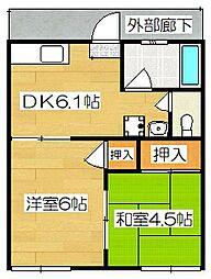籾井荘[201号室]の間取り