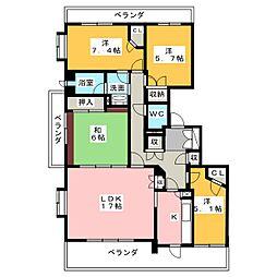 野村本山ヒルズ[4階]の間取り