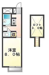 広島県三原市中之町5丁目の賃貸アパートの間取り