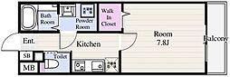 東京メトロ東西線 葛西駅 徒歩14分の賃貸マンション 4階1Kの間取り