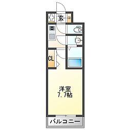 阪急宝塚本線 三国駅 徒歩5分の賃貸マンション 3階1Kの間取り