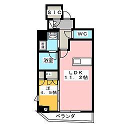 PASEO上野御徒町 5階1LDKの間取り