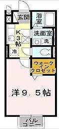 大阪府枚方市池之宮4丁目の賃貸アパートの間取り
