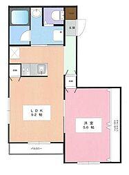 神奈川県平塚市西八幡2丁目の賃貸マンションの間取り