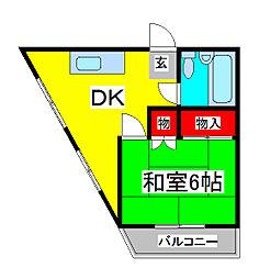 蕨ローズマンション[5階]の間取り