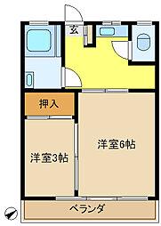 多摩川台コーポ[301号室]の間取り