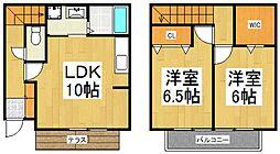[テラスハウス] 東京都東大和市芋窪5丁目 の賃貸【東京都 / 東大和市】の間取り
