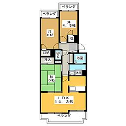 不二マンションB棟[4階]の間取り