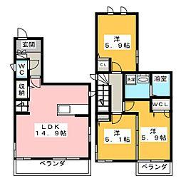 [テラスハウス] 福岡県福岡市南区井尻2丁目 の賃貸【/】の間取り