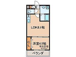 京阪本線 伏見桃山駅 徒歩10分の賃貸マンション 地下1階1LDKの間取り
